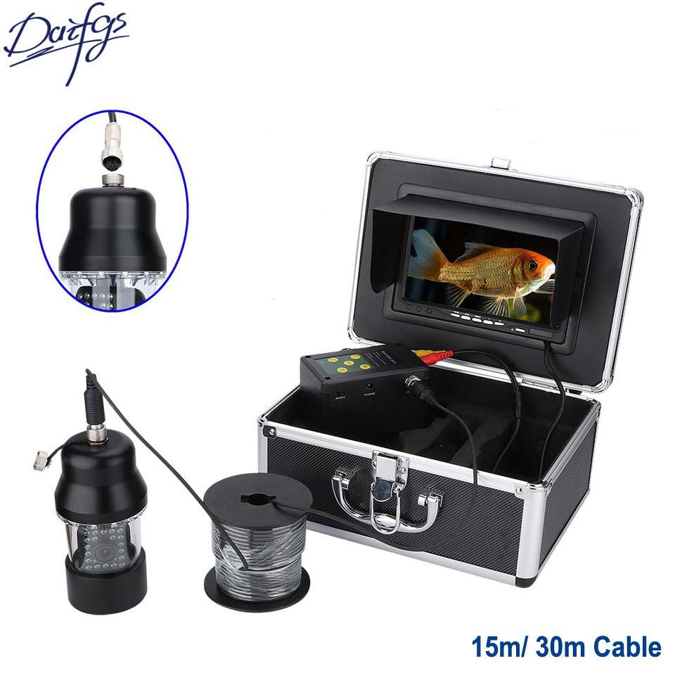 Professional 30m HD 1000TVL Underwater Fishing Video Camera 7'' Screen Waterproof 22 LEDs 360 Degree Rotating Camera Fish Finder