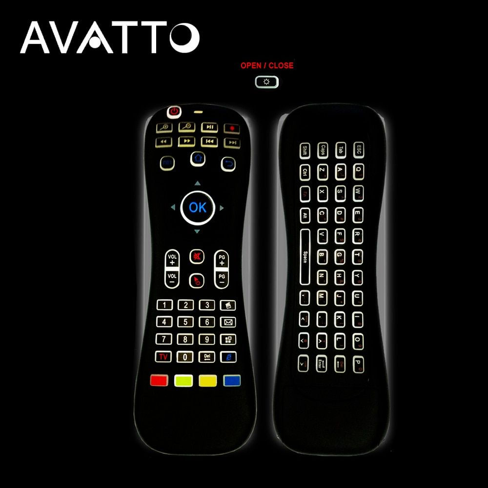 [AVATTO] MK3 Backlit Micphone Air Mouse 2.4G Wireless IR <font><b>Learning</b></font> Voice Remote Control mini Keyboard For Smart tv/Android Box/PC
