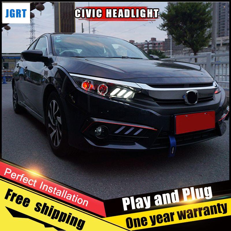 2PCS Car Style LED headlights for Honda Civic 2016-2017 for Civic head lamp Lens Double Beam H7 HID Xenon bi xenon lens