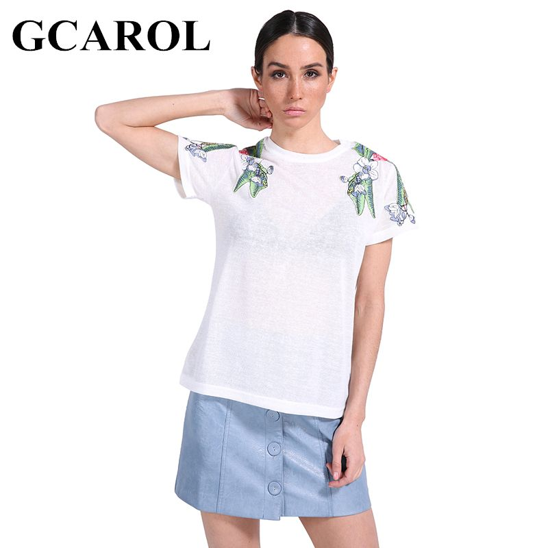 GCAROL 2018 Early Spring Patch Embroidery T shirt Shoulder Big Floral Appliques Tees 2 Colors Tops For Ladies