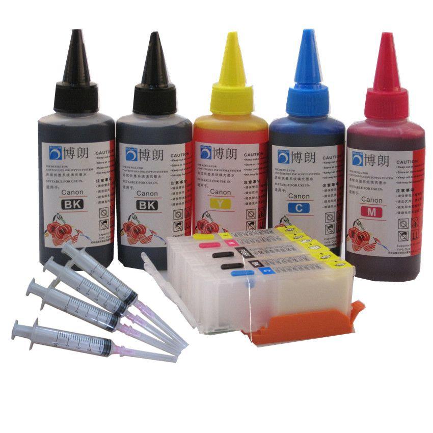 PGI-570 refillable ink cartridge For CANON PIXMA MG5750 MG5751 MG5752 MG5753 MG6850 MG6851 MG6852 MG6853 + 5 Color Dye Ink 500ml