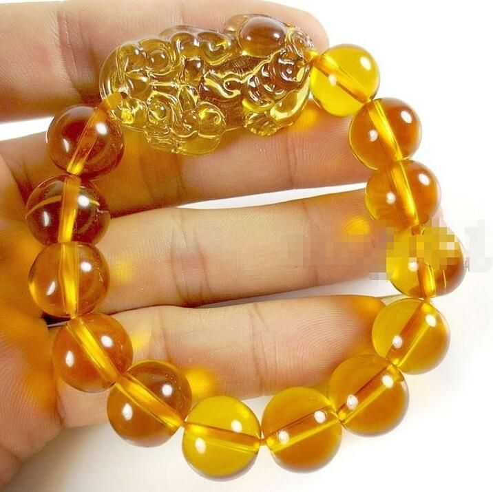 FREE SHIPPING>>>@@ Wholesale price 16new ^^^^Feng Shui stone Yellow Crystal Pi Yao Pi Xiu Xie Bracelet For Wealth 14mm