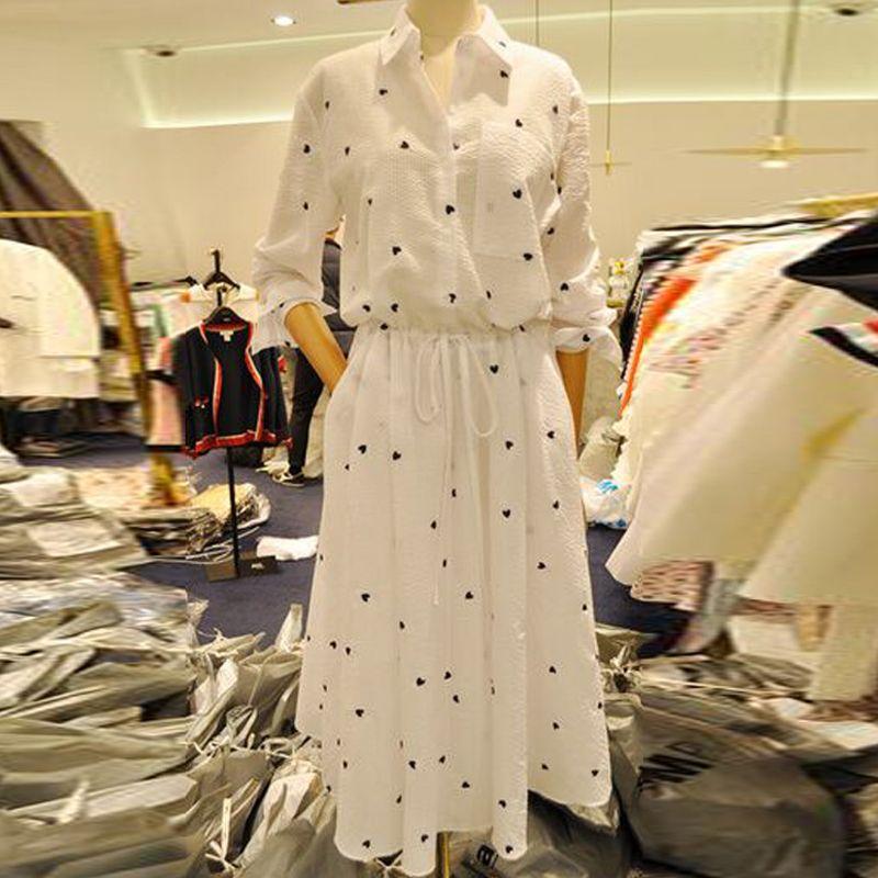 MAPUSITOM Coeur Imprimer Chemise-robe pour Femmes Élastique Taille Unique Poitrine Blanc Robes Élégant D'été Jurken Femme Robes