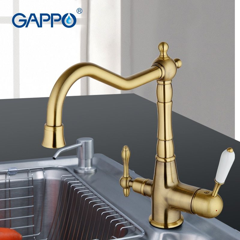 GAPPO Brass Filter Water Taps Kitchen Mixer Water Faucet Golden Vintage Tap Hot and Cold Water Mixer Tap Double Handle Faucets