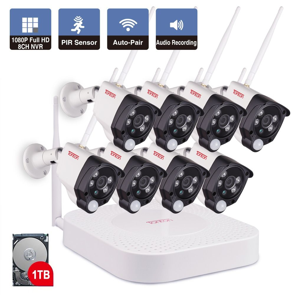 8CH 1080P 2MP IP Camera Audio Record Wireless Security CCTV System Home NVR cctv Camera Video Surveillance Kit PIR Sensor Tonton