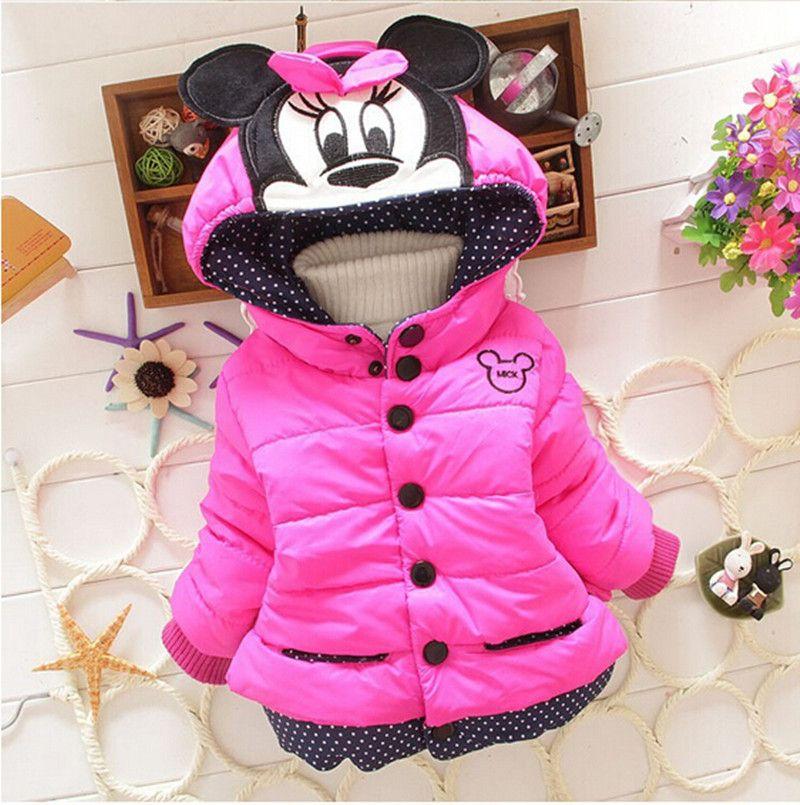 Nuevas Chicas chaquetas de moda Minnie de la historieta Ropa de bebé capa de la muchacha invierno cálido y prendas de Vestir Exteriores ocasional de 1-5 años de edad Los Niños chaquetas