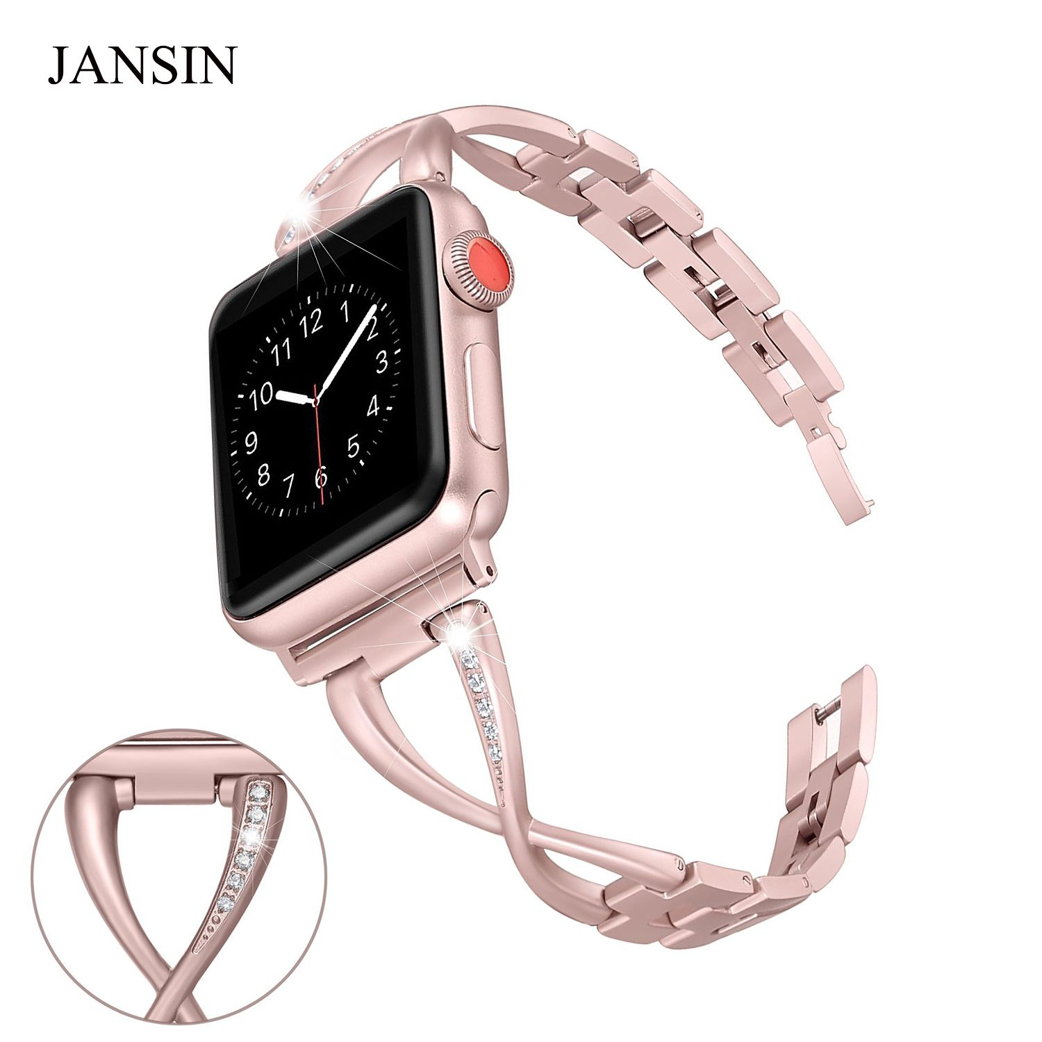 JANSIN Women Watch band for Apple Watch Bands 38mm/42mm Adjustable Stainless <font><b>Steel</b></font> Strap for iwatch series 3 2 1 Bracelet