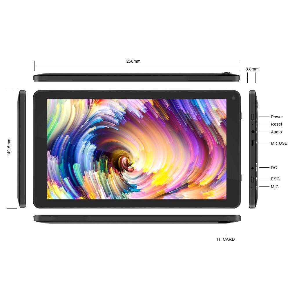 YUNTAB 10.1 Pouce D102 Android6.0 Tablet PC Allwinner A33 Quad Core CPU, 1024*600 Résolution HD avec Double caméra 5500 mAh Batterie