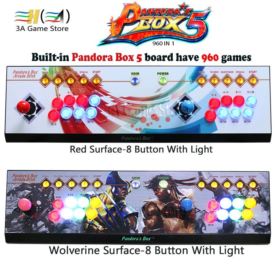 Pandora Box 5 960 in 1 der Pandora Box joystick 8 Taste Eisen konsole Menü Taste mit Led Licht arcade joystick controle 2 player