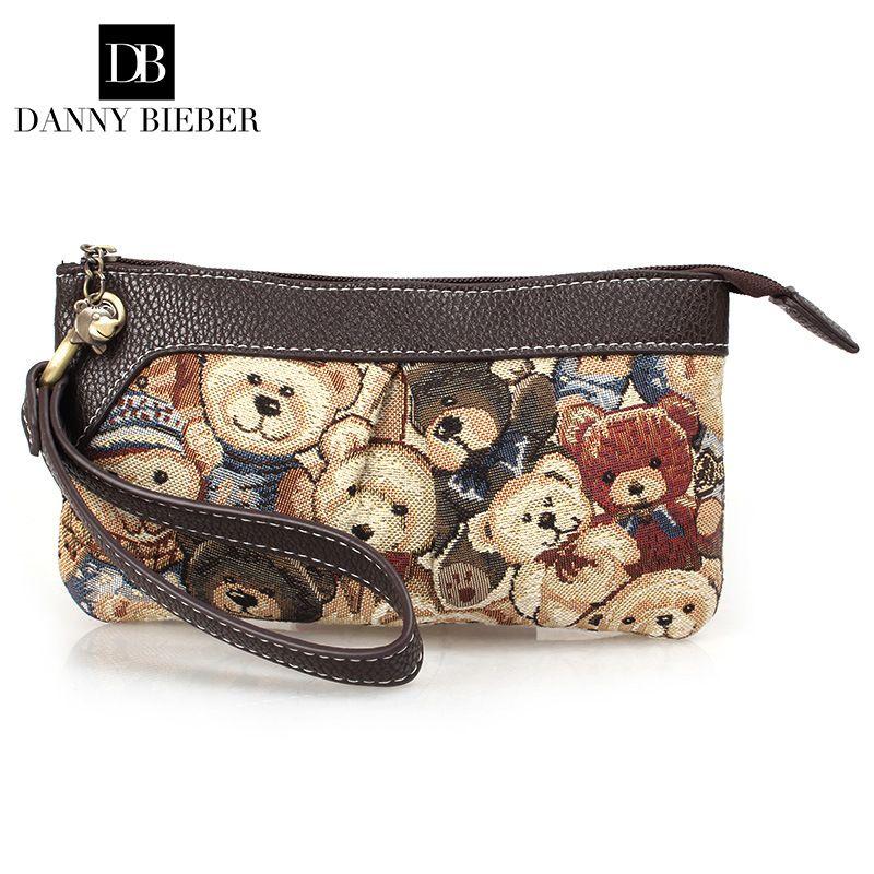 DANNY BIEBER Vintage Kleine Frauen Bär Tasche Handtasche Dame Berühmte marke Zipper Nette Mappe Handytasche Tag Clutch Abendtasche tasche