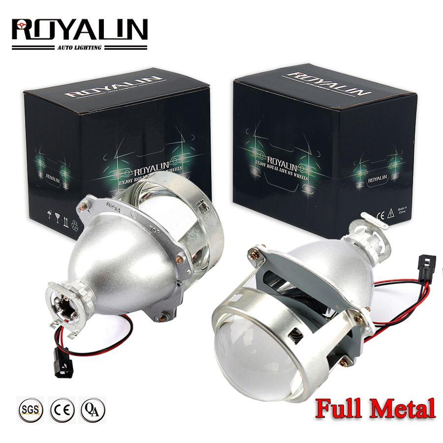ROYALIN Car-styling HID H1 Bi Xenon Headlight Projector Lens 3.0 Inch Full Metal LHD RHD for H4 H7 9005 9006 Auto Light Retrofit