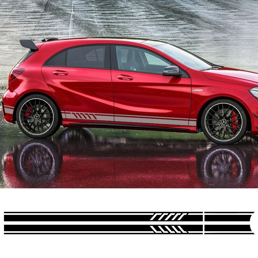 Edition 1 Style Door Side Stripes Skirt Decals Sticker for Mercedes Benz A Class W176 A45 AMG Matte/Gloss/5D Carbon Fibre Black