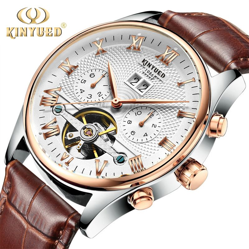 KINYUED Skeleton Tourbillon Mechanical Watch Men Automatic Classic Rose Gold Leather Mechanical Wrist Watches Reloj Hombre 2019