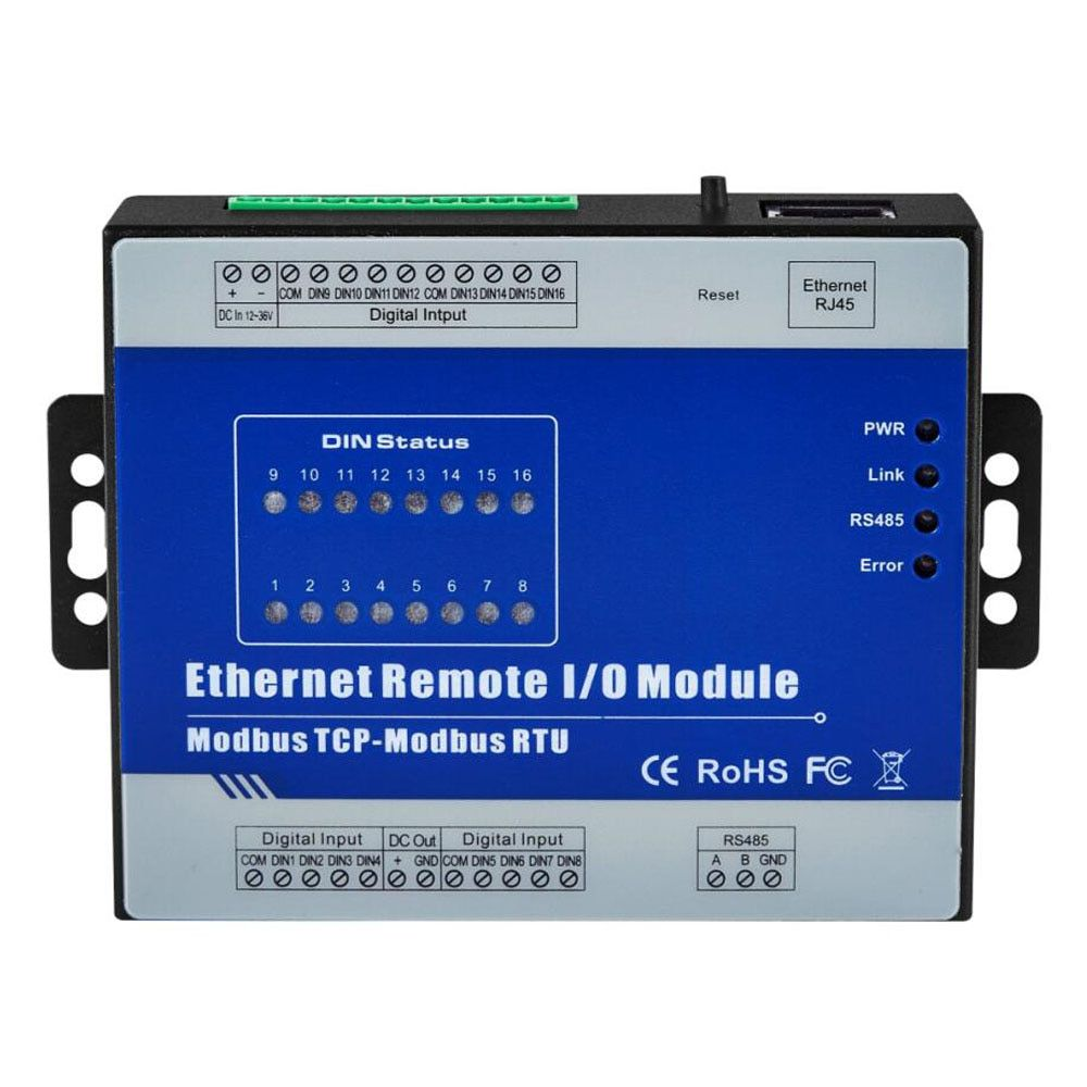 Modbus Ethernet Converter 1 With RS485 Serial Port Modbus TCP Ethernet Remote IO Module 16 Relay Output M420T