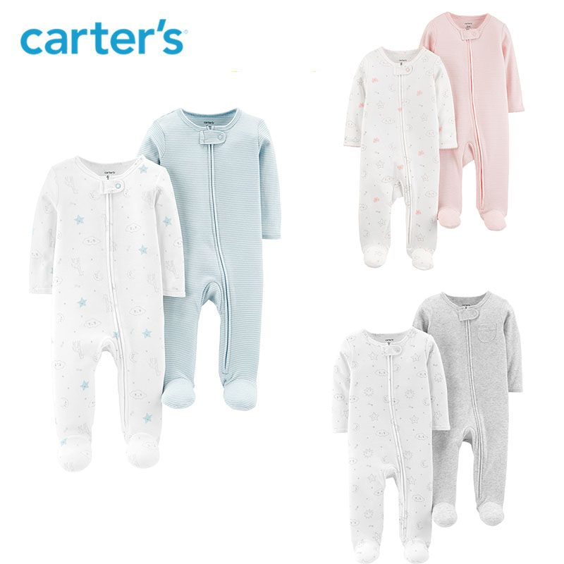 Carters 2-Pack Zip-Up Cotton Sleep & Play Baby boy clothes Soft cotton long sleeve footies newborn baby girl overalls 126H559