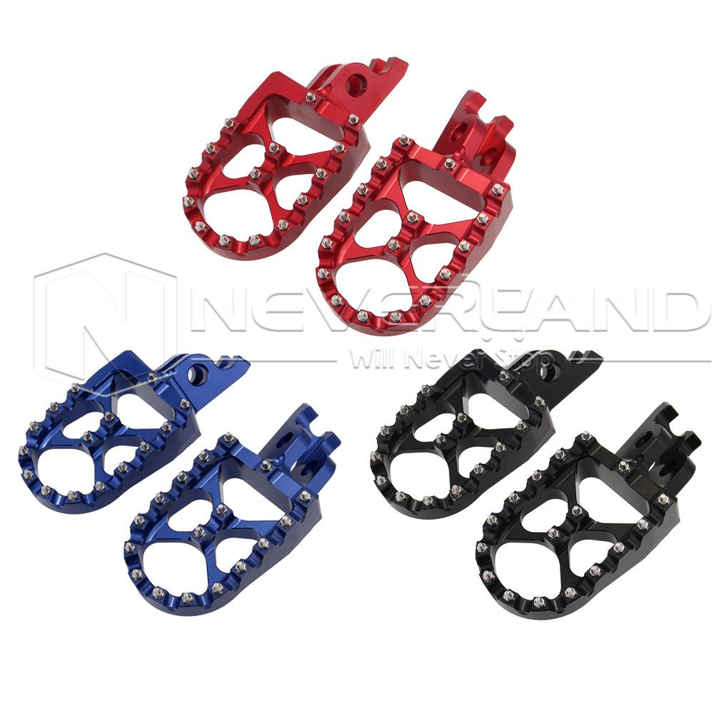Motorcycle Foot Pegs Alloy CNC Motorbike Footrests 57mm Wide Fit Honda CRF150R 2007-2015 CRF250R CRF250X 2004-2015 D25