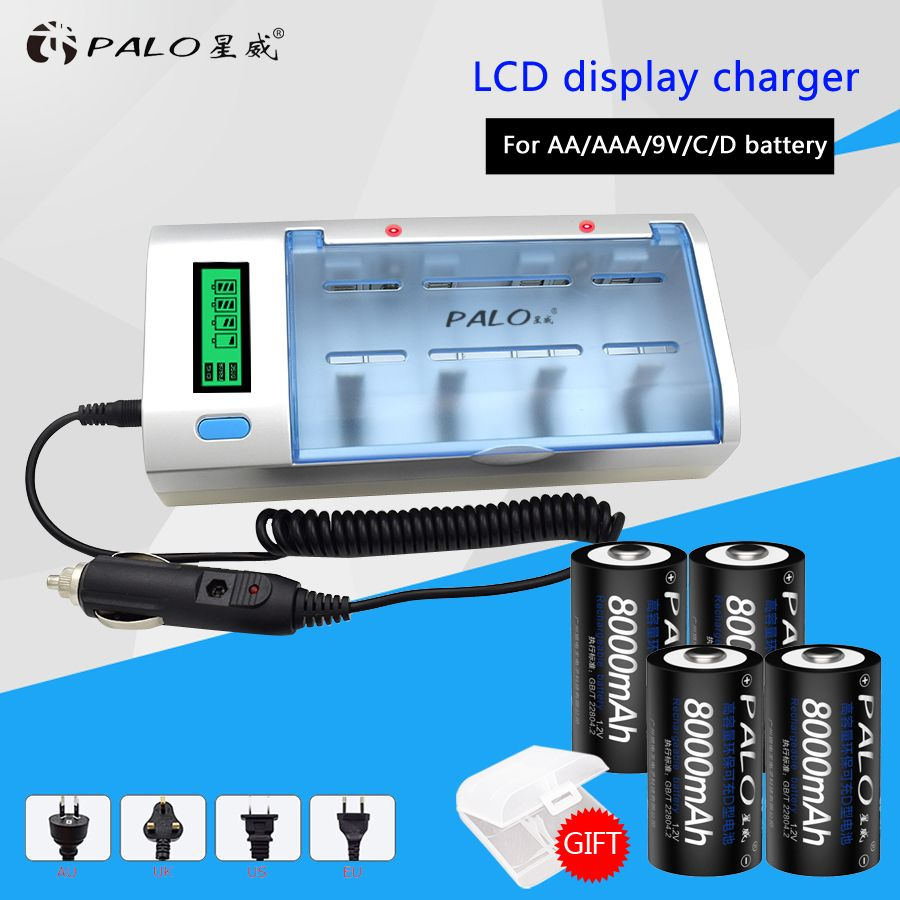 High Quality Smart Intelligent LCD Battery Charger For NIMH NICD AA/AAA/SC/C/D/9V Battery+4pcs 8000mah Rechargeable Batteries