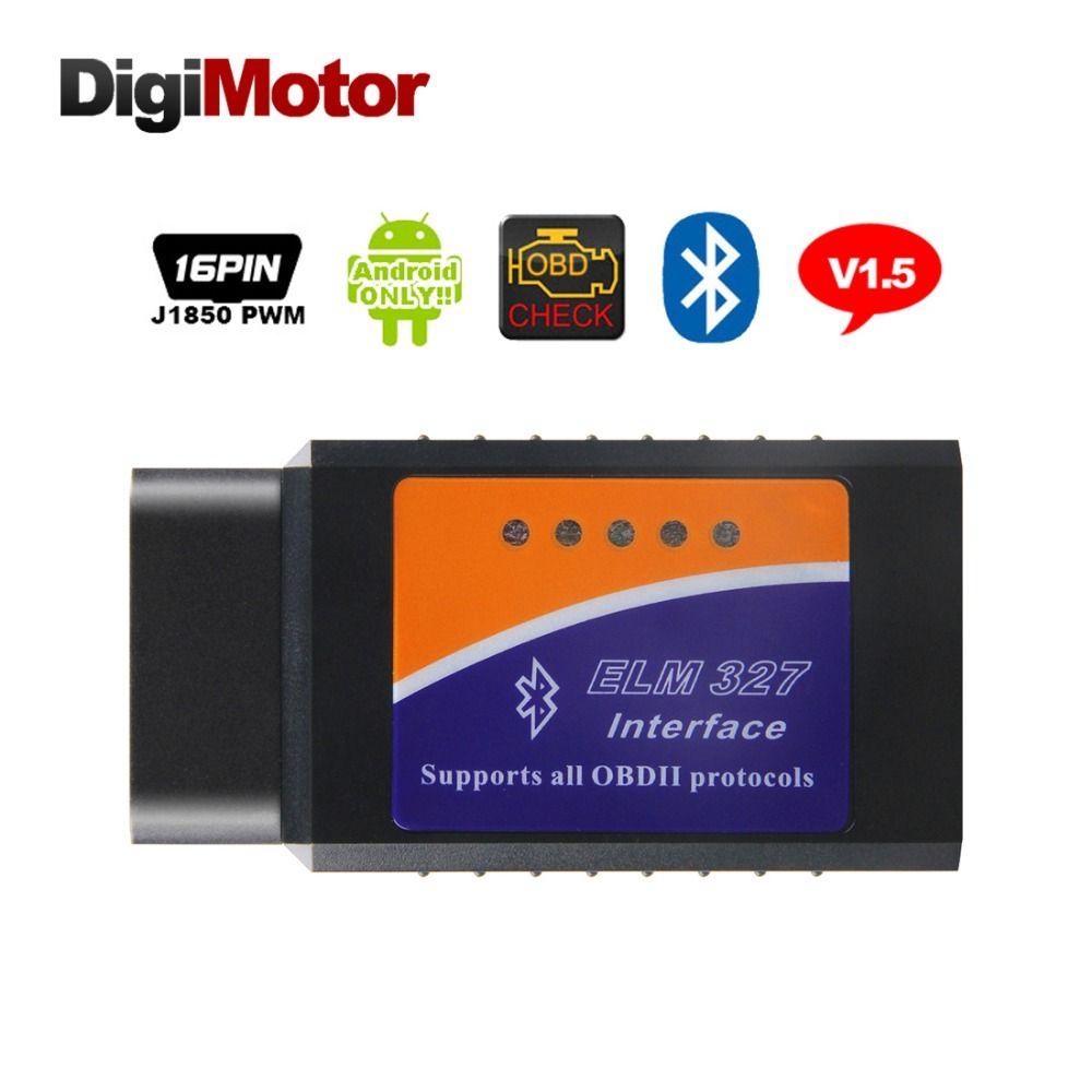 Digimotor Real ELM327 V1.5 Bluetooth OBD2 DEL OLMO 327 V 1.5 Herramienta de Diagnóstico del Lector de Código de OBDII Escáner Mini OBD 2 Coches Herramienta de diagnóstico