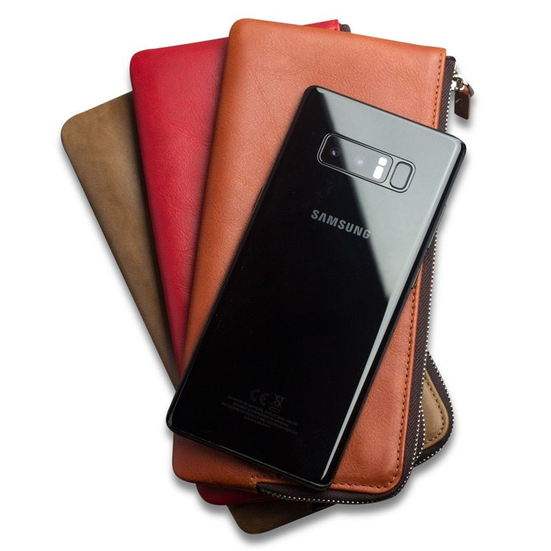 QIALINO Fashion Wallet Pouch for Samsung Galaxy Note 8 Luxury Pure Handmade Genuine Leather with Slot Case for Samsung Note 8