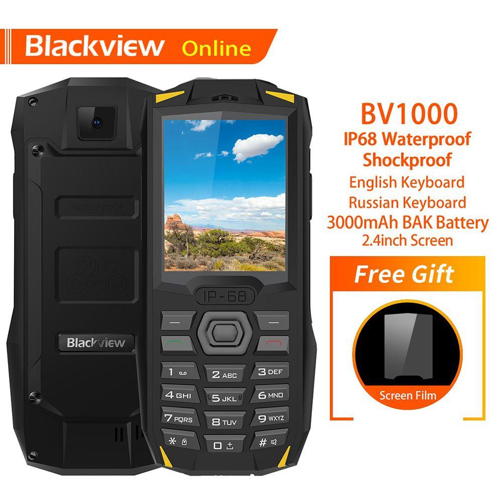 Blackview Original BV1000 2.4 IP68 Waterproof Outdoor Rugged Mobile Phone Russian Keyboard Dual SIM Flashlight Tough Cellphone