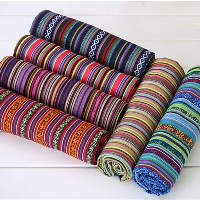 Nouveau 100X150CM Polyester/coton tissu ethnique décoratif tissus pour housse de canapé coussin tissus rideaux 22 Styles livraison gratuite