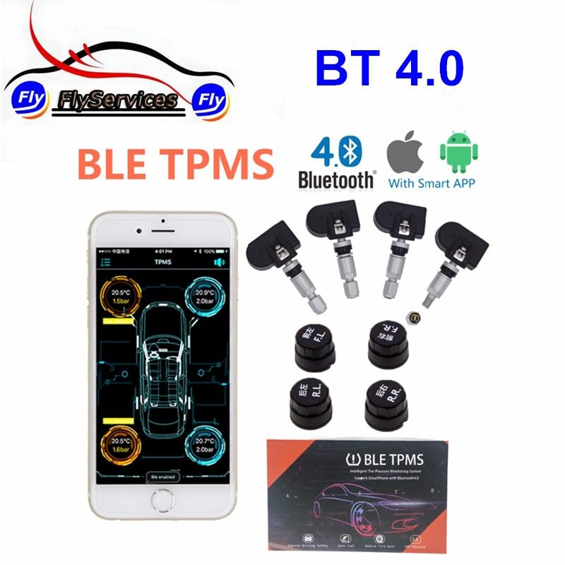 New Arrival Bluetooth 4.0 TPMS Car Tire Tyre Pressure Monitoring System for Android / IOS With 4 Sensors TPMS Alarm System