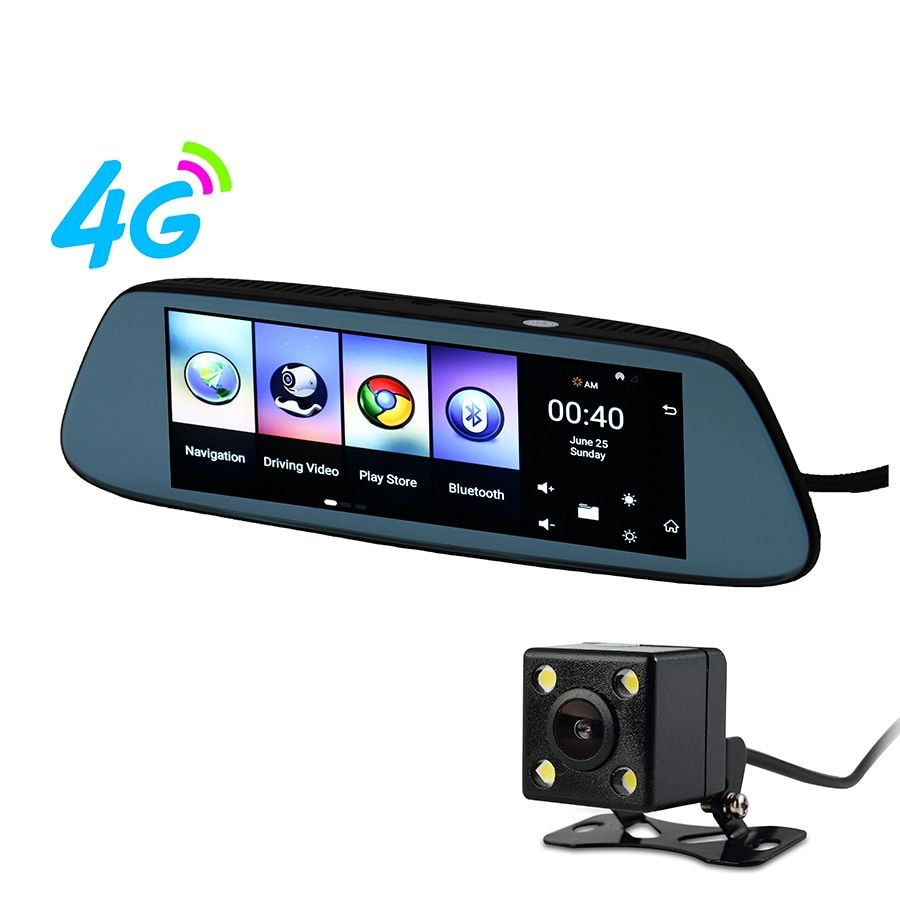 Udricare 8 inch Android 4G GPS Navigation WiFi Bluetooth 1G RAM 16GB DVR Android 5.1 GPS Dash Cam Rear View Dual Camera Mirror