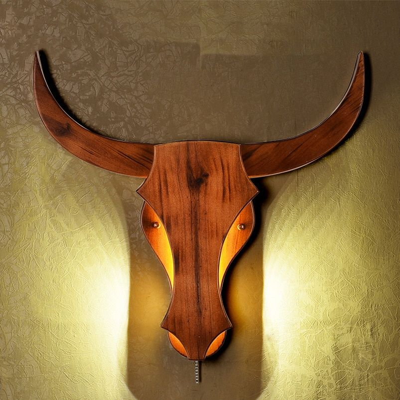 Chinese wood wall lamp bedroom bedside lamp cattle tau art light living room aisle cafe pub study office bar led light bra