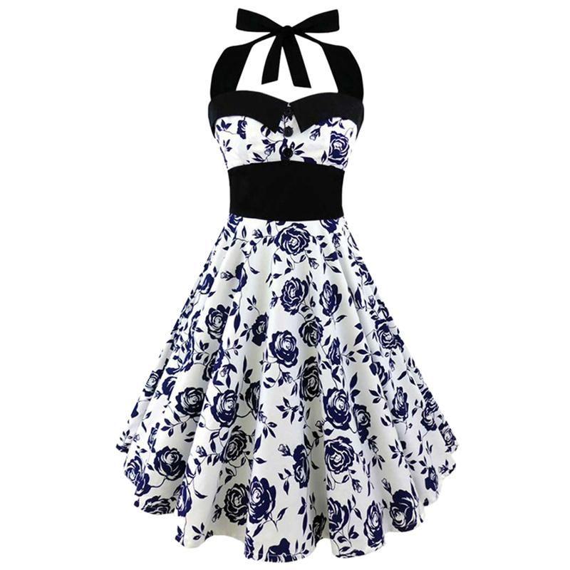 Hot Sale Halter Dress Summer Women 2018 Sleeveless Floral Print femme Elegant Vintage Dresses Retro Rockabilly Prom Party Dress
