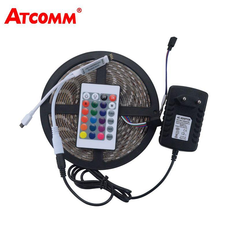5050 RGB LED bande lumineuse 60 LED s/m 5 mètres étanche IP67 ruban LED avec 12 V 3A adaptateur secteur 24Key IR télécommande
