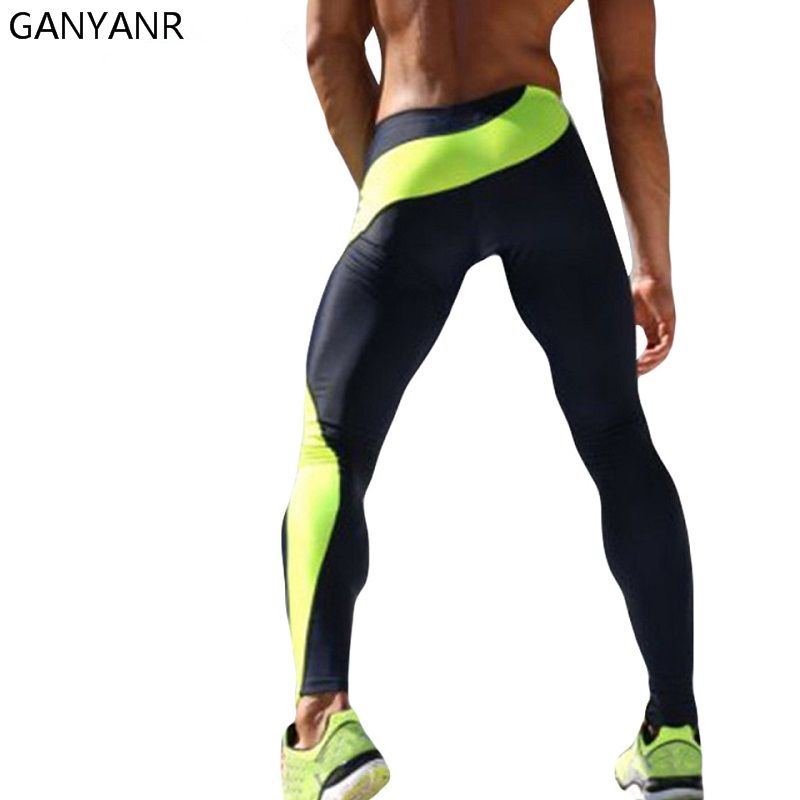 GANYANR Marque Collants de Course Hommes Compression Fitness Crossfit Formation Gym Legging Sport Jogging Long Yoga Pantalon de Sport