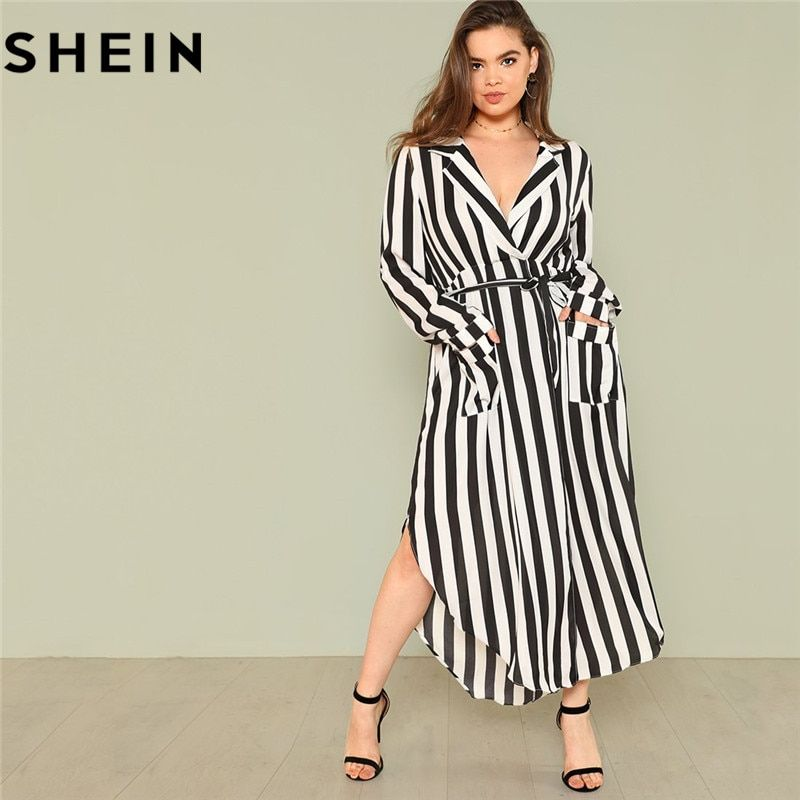SHEIN Black And White Stripe V Neck <font><b>Belted</b></font> Plus Size Maxi Dress Spring Fall Office Lady High Waist Split Side Striped Dresses