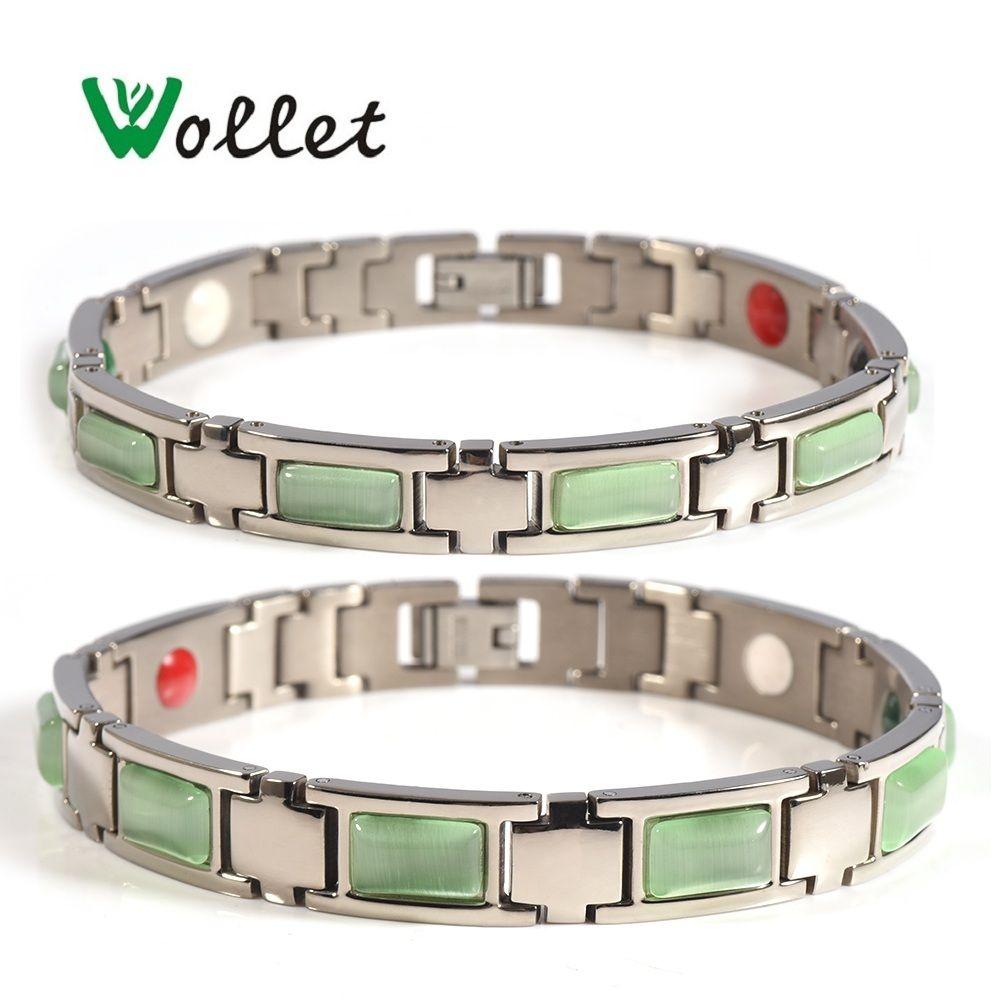 Wollet bijoux saint valentin oeil de chat 5 en 1 pur titane Bracelet magnétique Bracelet pour femmes hommes Couple soins de santé guérison