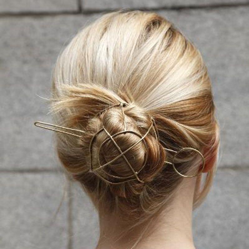 Unique! Punk or ton géométrique cheveux bâtons Vintage chignon Cage cheveux Bijoux mariage cheveux accessoires Chic cheveux Bijoux