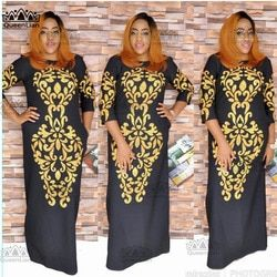 2018 Size(L-3XL) New African Dashiki Fashion Black Gold Pattern Super Elastic Party Plus Size Loose Dress For Lady  CP04#