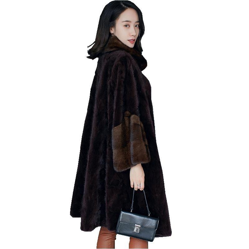 Europäische Echtes Stück Nerz Mantel Jacke Winter Frauen Fell Warme Oberbekleidung Mäntel Kleidungsstück Plus Größe 5XL 6XL 7XL LF4230