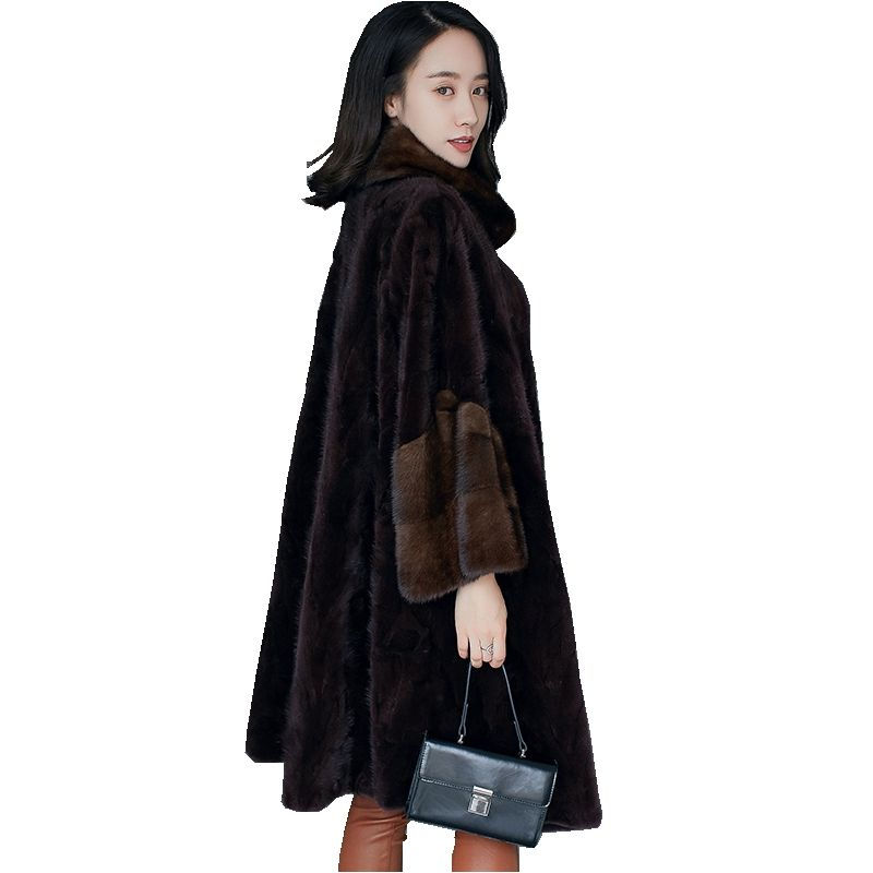 European Genuine Piece Mink Fur Coat Jacket Winter Women Fur Warm Outerwear Coats Garment Plus Size 5XL 6XL 7XL LF4230