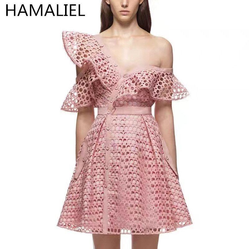 HAMALIEL 2018 Summer Self Portrait Runway Hollow Out Lace Flounces Pink Dress Women Sexy V-Neck Mini Dress