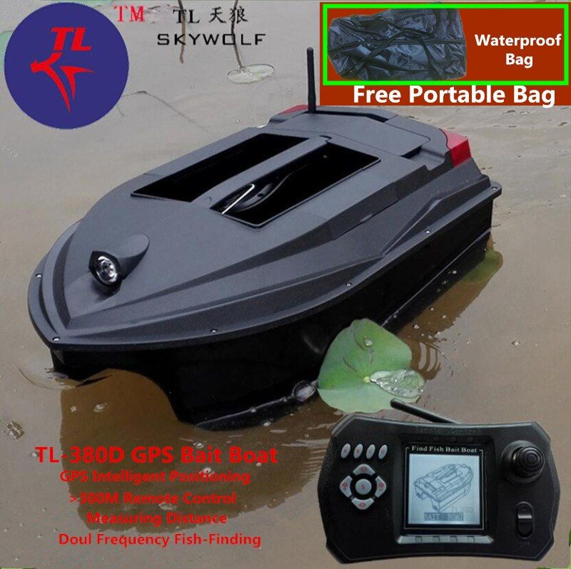 Free Bag GPS Position Smart Remote Control RC Bait Boat TL-380D Dual Bait Bell Wireless Sonar Fish Detector Fix Up Fishing Net
