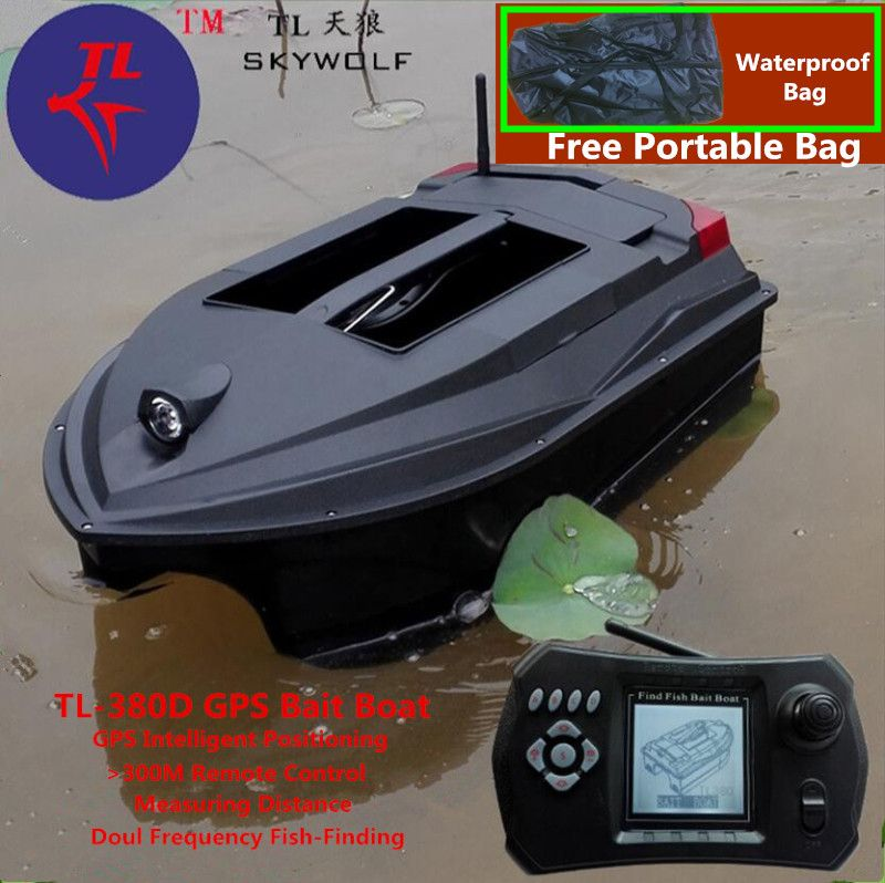 Freies Tasche GPS Position Smart Fernbedienung RC Köder Boot TL-380D Dual Köder Glocke Wireless Sonar Fisch Detektor Fix Up fischernetz