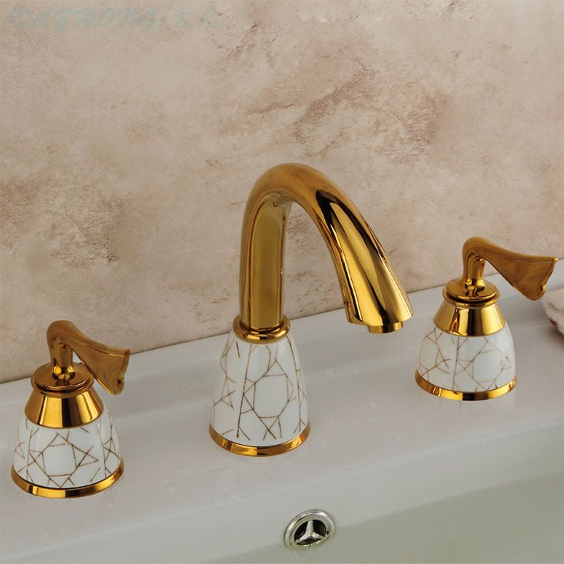 New Arrivals Luxury golden finishing Deck Mounted Bathroom Basin Faucet Dual Handles 3 PCS Sink Mixer Tap solid brass