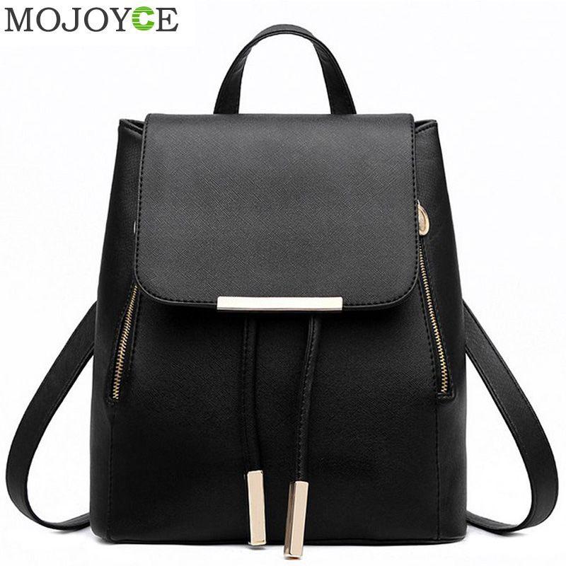 Fournitures scolaires noires sac à dos femme en cuir PU sac à dos sac de rue japonais sac d'école des femmes pour les sacs à dos des adolescentes