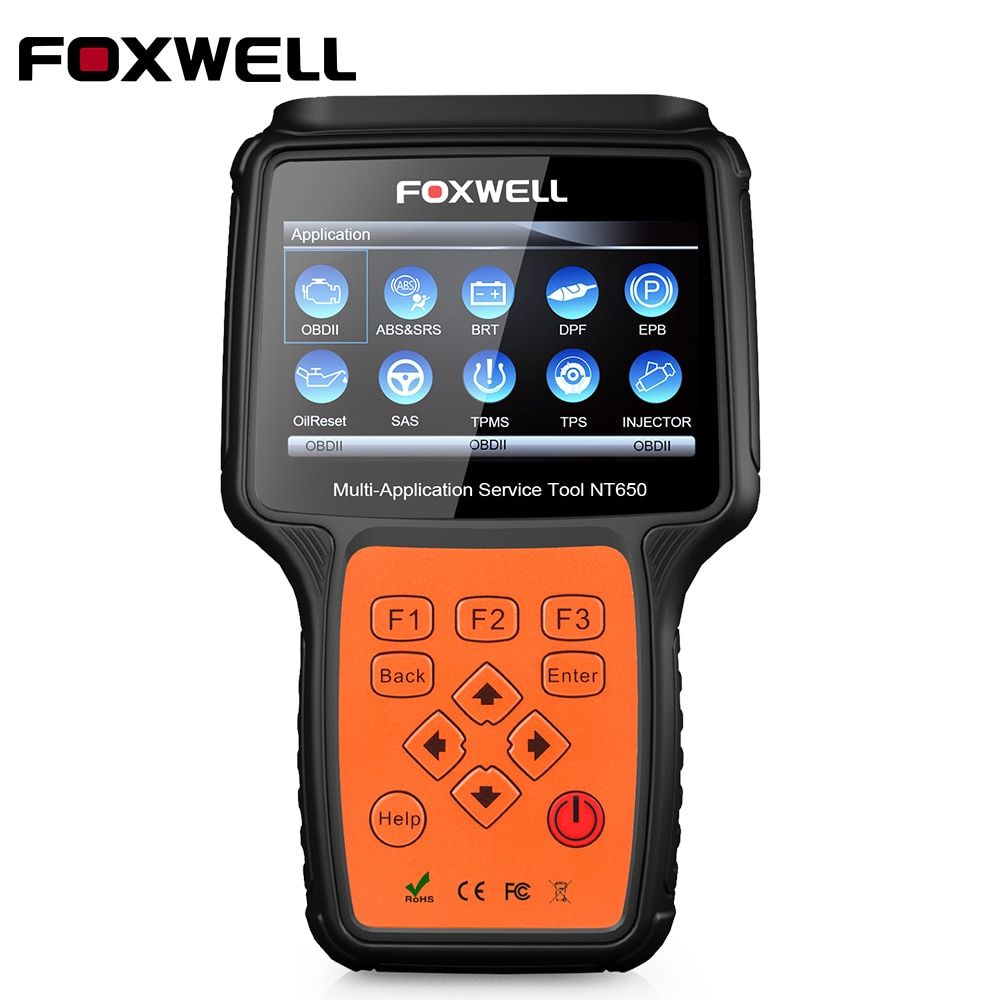 FOXWELL NT650 OBD2 Diagnostic Tool OBD2 Scanner with ABS Airbag SAS EPB DPF Oil service Reset Injector Coding For Car Diagnostic
