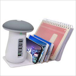 YWXLight carga rápida 3,0 cargador USB Hub cargador de viaje 5 Puerto adaptador de teléfono de carga LED Mushroom escritorio luz de la noche