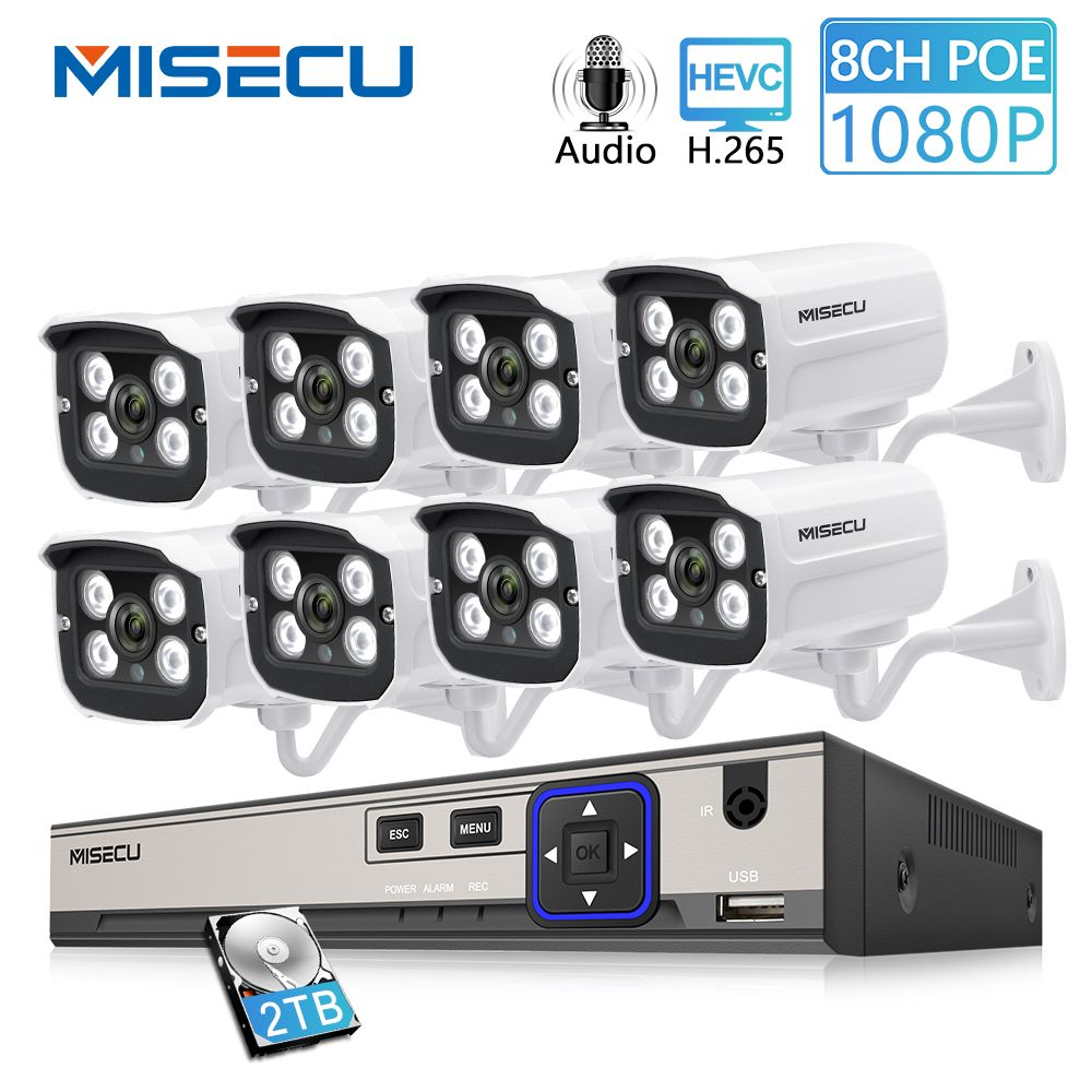 MISECU 8CH 2MP POE NVR 1080P Camera kit Outdoor 1080P PoE IP Camera Audio Record Onvif FTP CCTV System Video Surveillance Kit