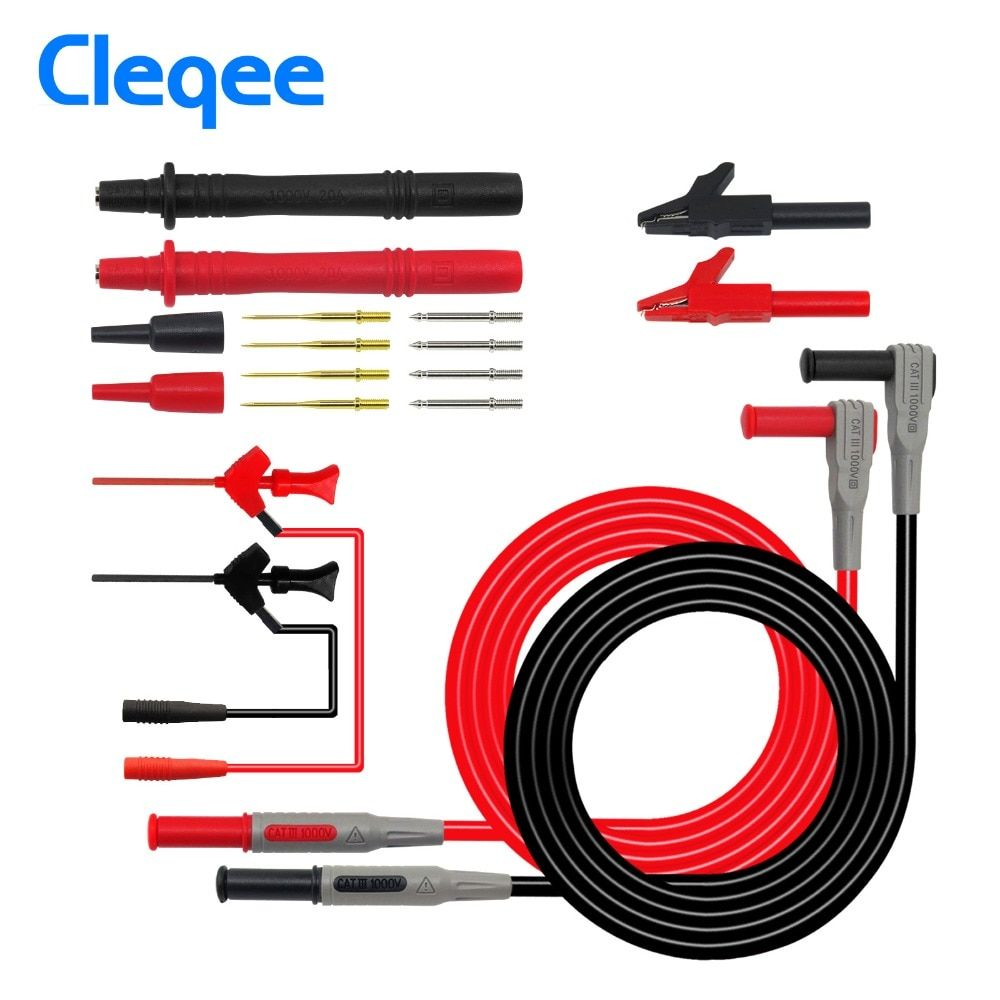 Cleqee P1300B 12-in-1 Super Multimeter Probe Replaceable Probe Clamp Multi Meter Test Lead kits + Alligator Clips