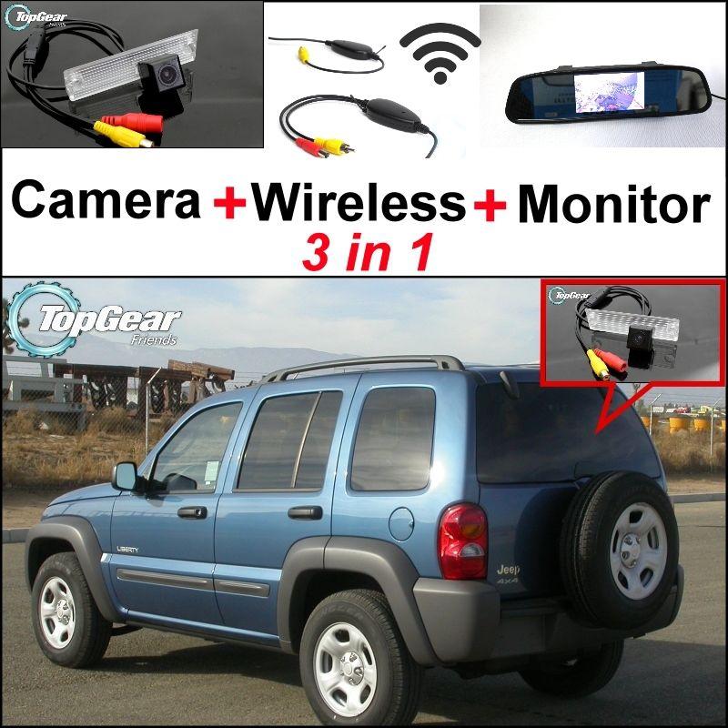 3 in1 Spezielle Rückfahrkamera + Wireless Receiver + spiegel Monitor EINFACH DIY BACKUP Park System Für Jeep Liberty 2002 ~ 2007