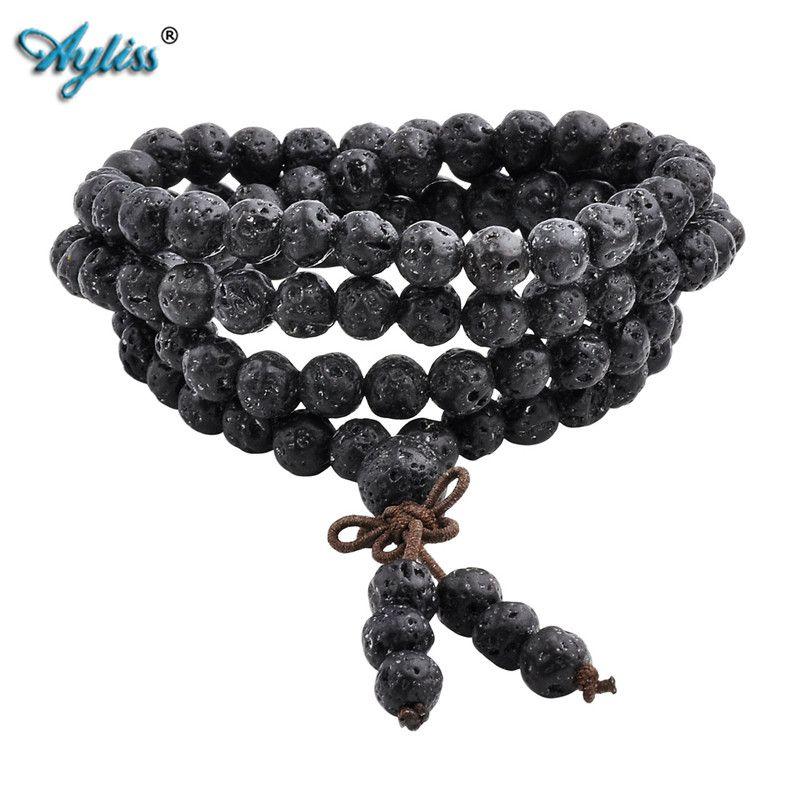 Ayliss chaud à la mode pierre de lave 6mm/8mm 108 perles Bracelets de guérison équilibre Reiki bouddha Bracelet de prière pour hommes femmes bijoux