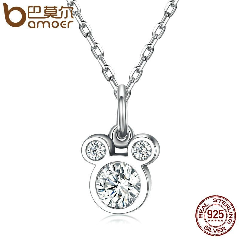 BAMOER New Arrival 925 Sterling Silver Dazzling Miky Mouse Pendant Necklaces for Women Fine Collares Jewelry SCN068