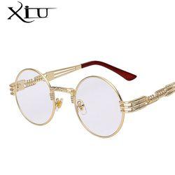 Gothique Steampunk lunettes de Soleil Hommes Femmes Métal WrapEyeglasses Ronde Nuances Marque Designer lunettes de Soleil Miroir Haute Qualité UV400